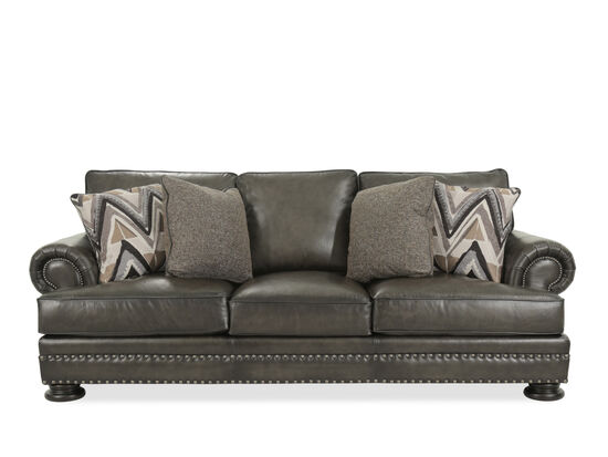 """Leather Rolled Arm 98"""" Sofa in Mocha"""