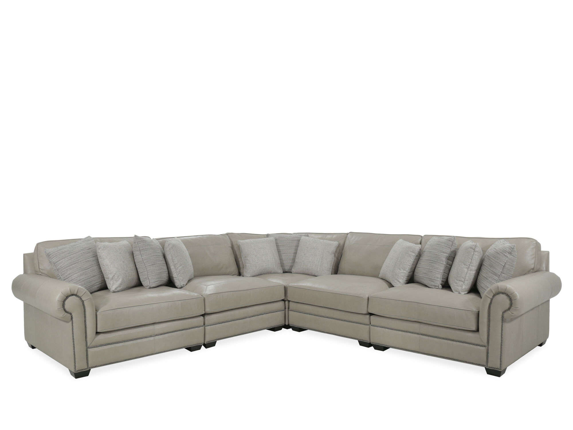 Bernhardt Grandview Leather Beige Five-Piece Sectional  sc 1 st  Mathis Brothers : bernhardt sectional leather - Sectionals, Sofas & Couches