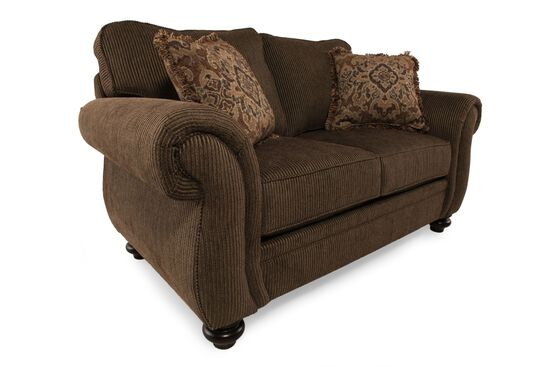 "Traditional 67"" Loveseat in Deep Brown"