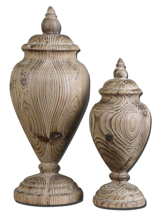 Two-Piece Carved Finials in Wood