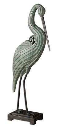Carved Heron Sculpture in Blue-Green