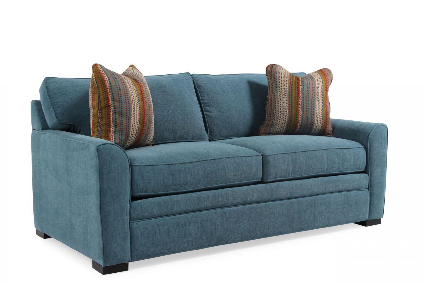 Jonathan Louis Blissful Blue Queen Memory Foam Sleeper Sofa