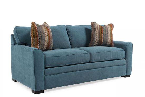 "Transitional 83"" Queen Sleeper Sofa in Sapphire Blue"