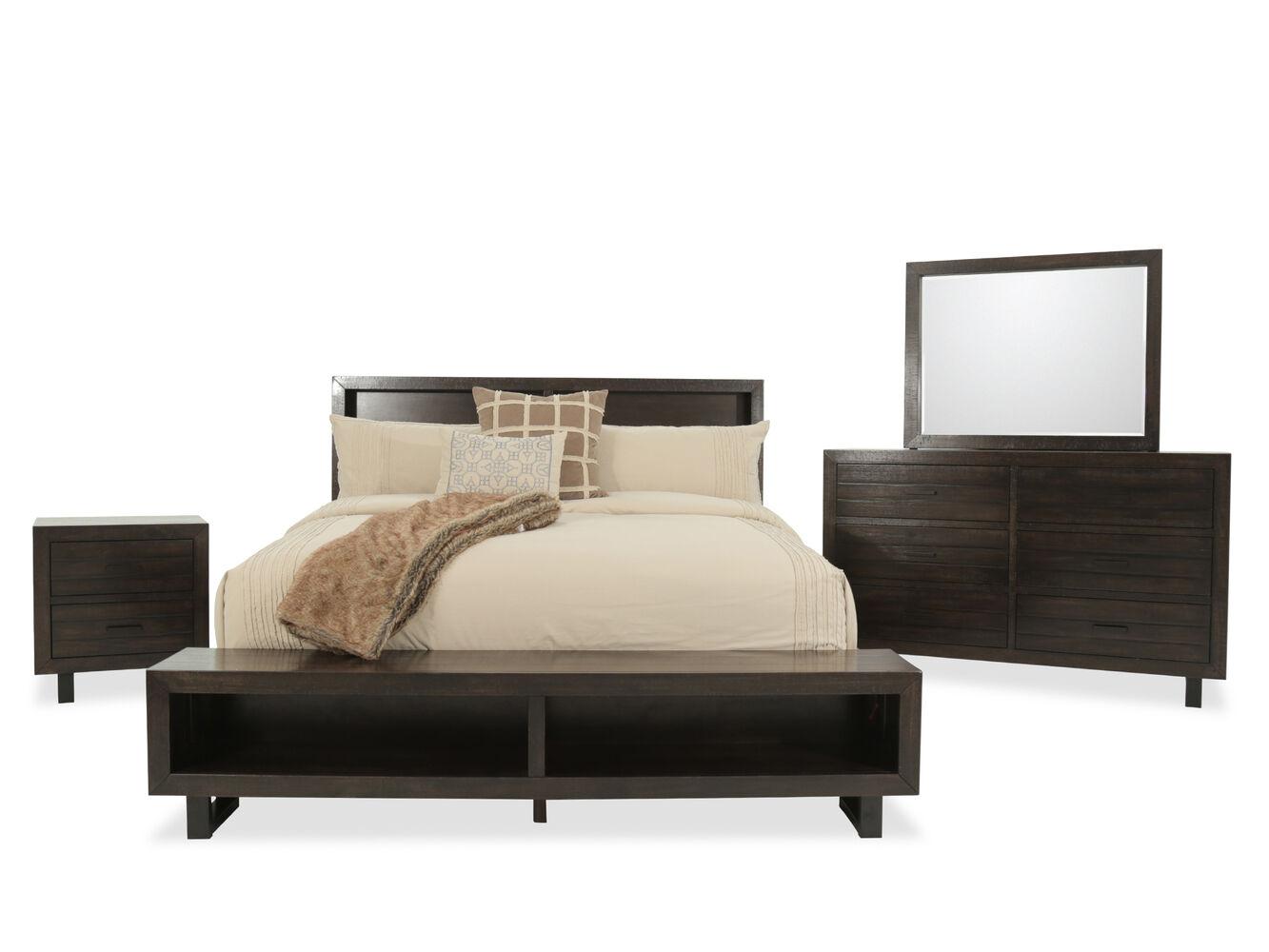 Four piece mid century modern storage bedroom set in dark - Mid century modern furniture bedroom sets ...