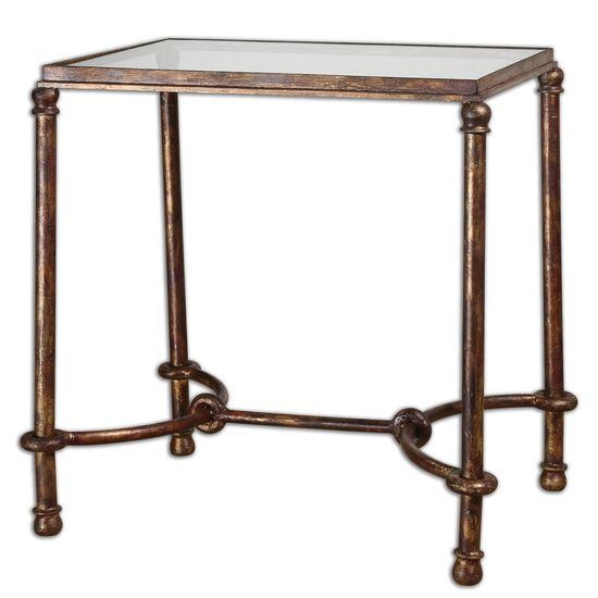 Glass Top End Table in Rustic Bronze