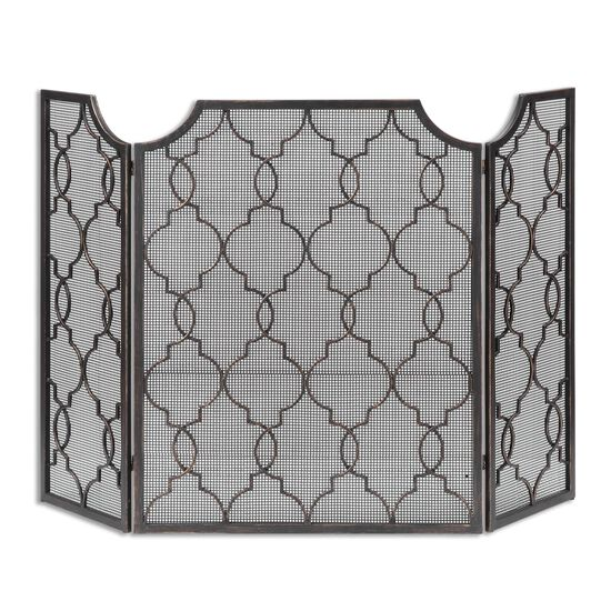 Moroccan Trellis Fireplace Screen in Black