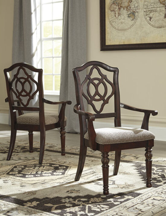 "Open Work Detailed 26"" Upholstered Arm Chairin Reddish Brown"