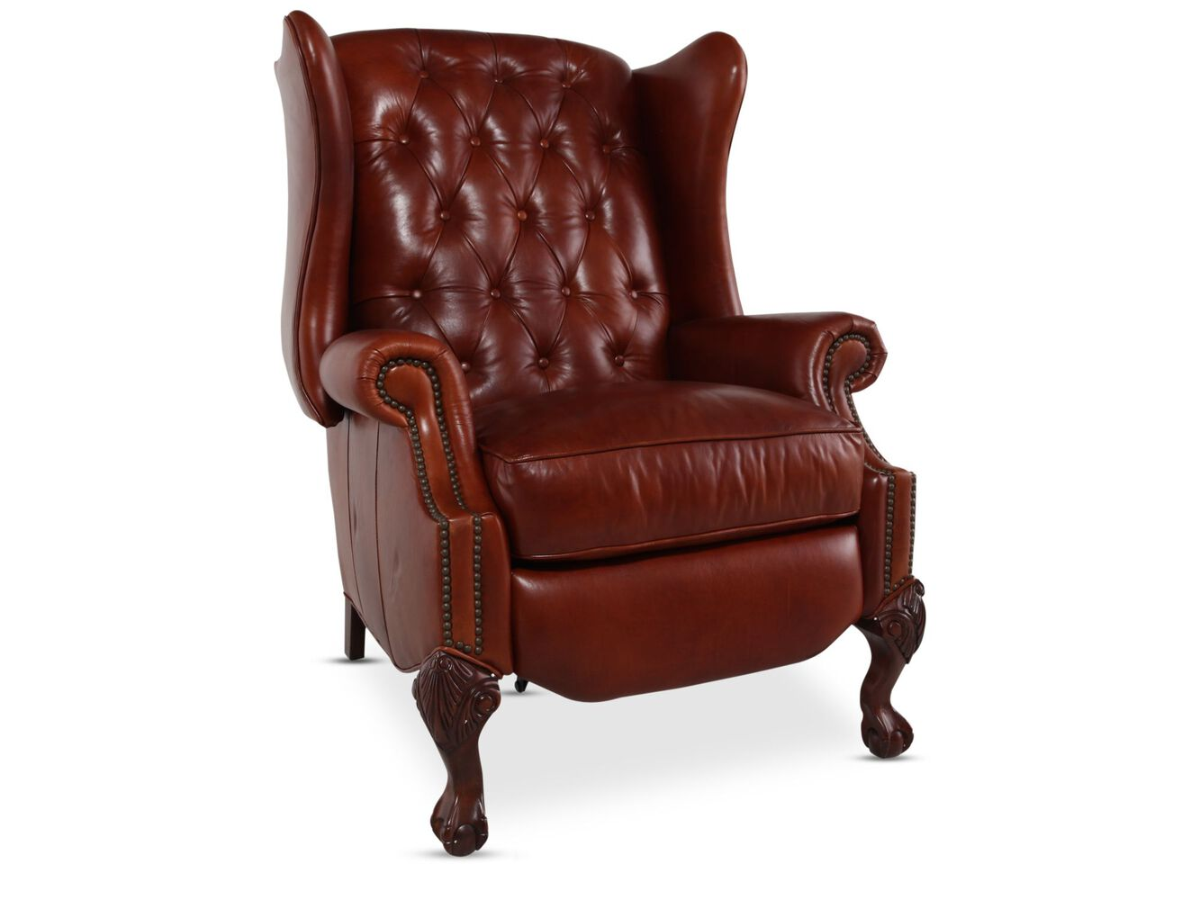 Button Tufted Leather Recliner In Red Mathis Brothers