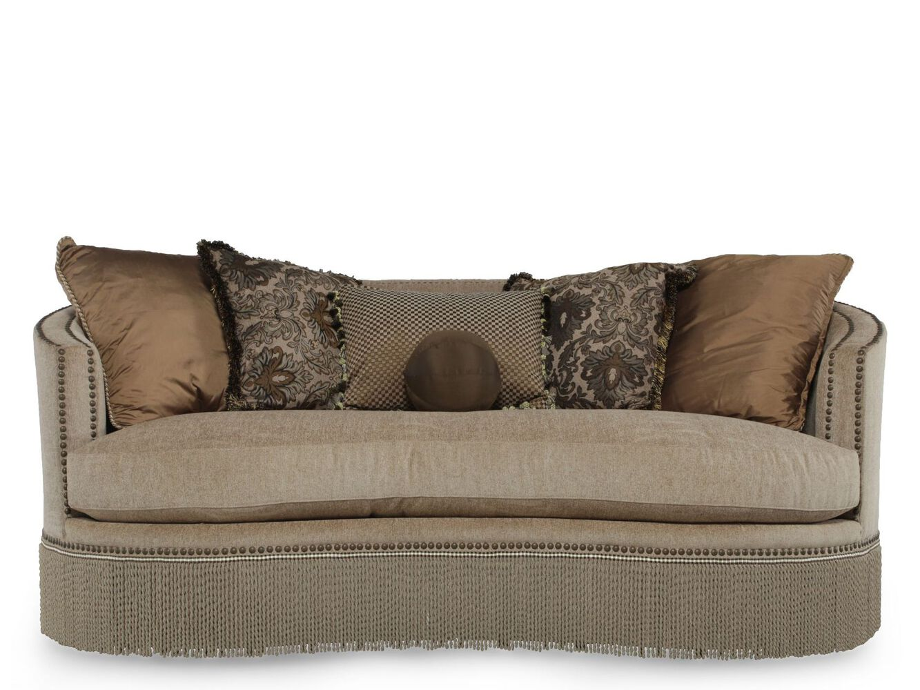 Fringed traditional demilune sofa in tan mathis brothers for Traditional couches for sale