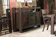"Three-Drawer 62"" Rectangular Server in Distressed Brown"