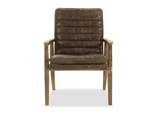 Transitional Leather Club Chair in Brown