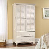 "72"" Modern Louver Door Armoirein Antiqued White"