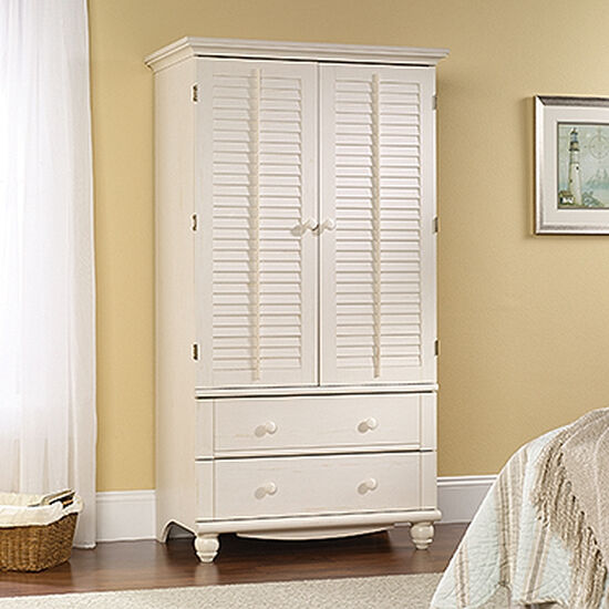"72"" Modern Louver Door Armoire in Antiqued White"