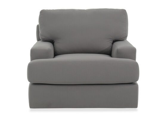 "Track Arm Transitional 41"" Swivel Chair in Gray"