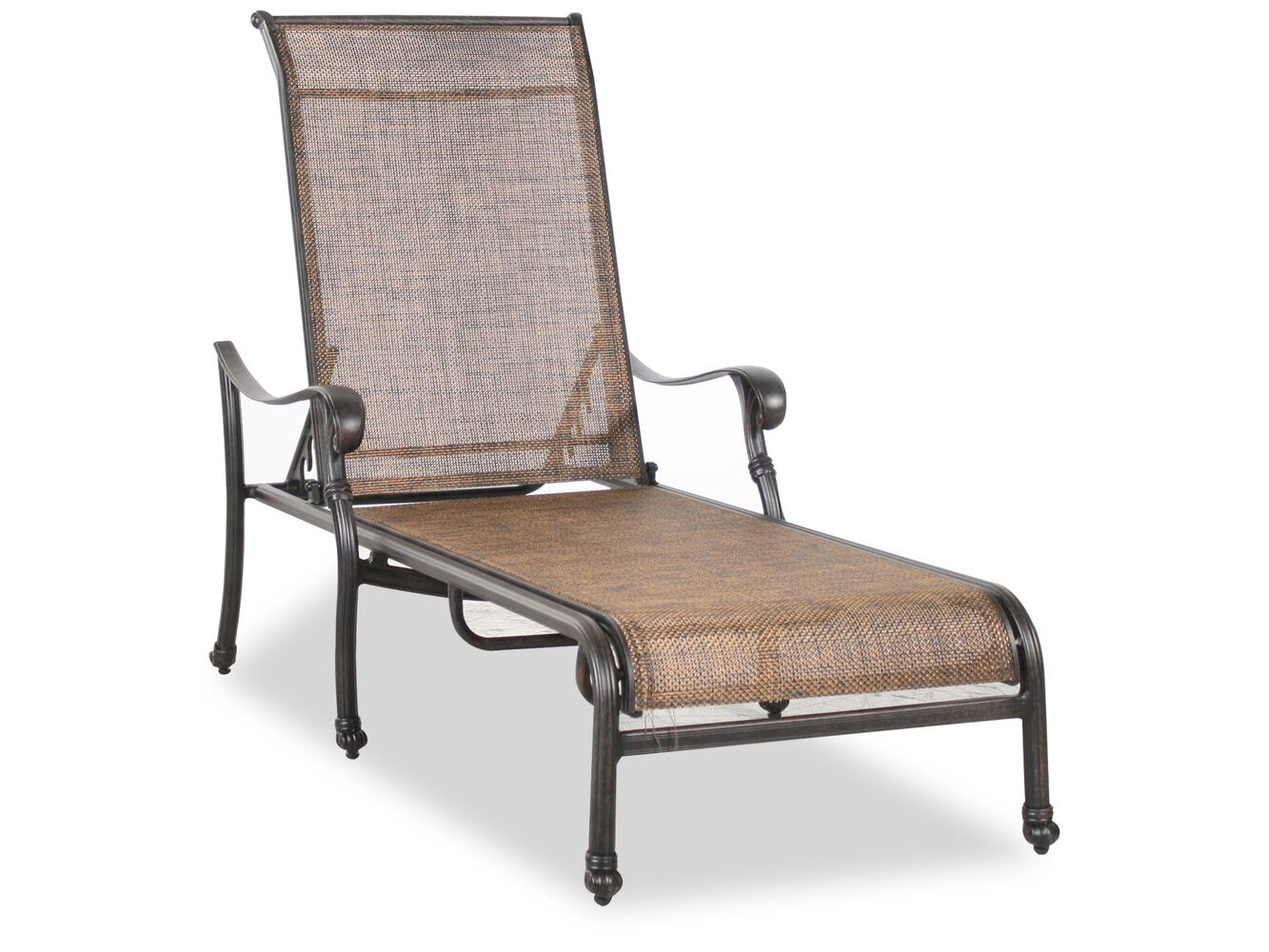 screen back aluminum sling chaise in brown mathis brothers furniture. Black Bedroom Furniture Sets. Home Design Ideas