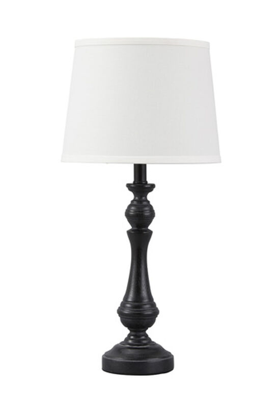 Casual Pedestal Table Lamp in Black