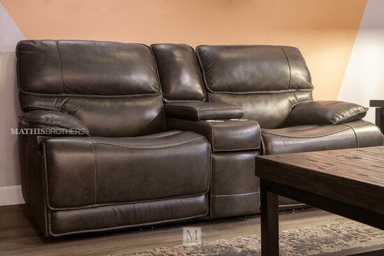 "Power Reclining Leather 80"" Loveseat with Console in Medium Black"