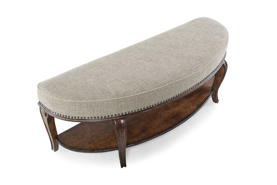 "Traditional Demilune Caribole Leg 56"" Bed Bench in Beige"