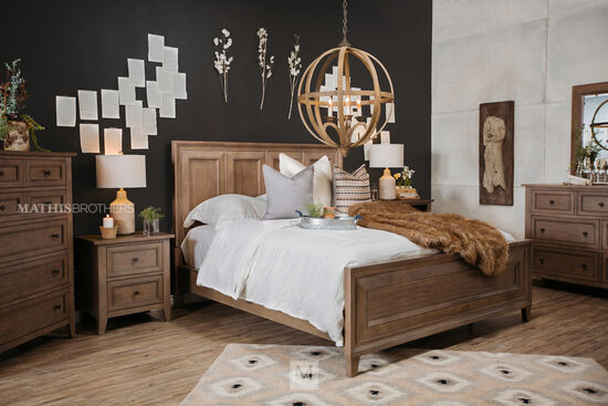 "59"" Traditional Framed Panel Bed in Driftwood"