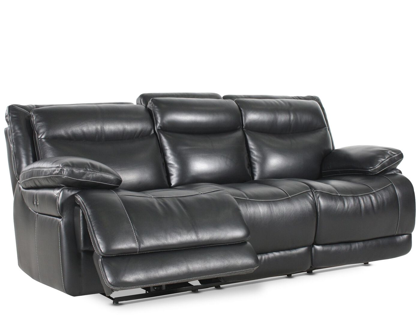 Leather 91 Power Reclining Sofa In Midnight Black Mathis  ~ Red Leather Power Reclining Sofa