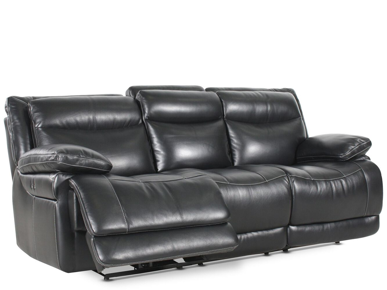 Leather 91 Quot Power Reclining Sofa In Midnight Black