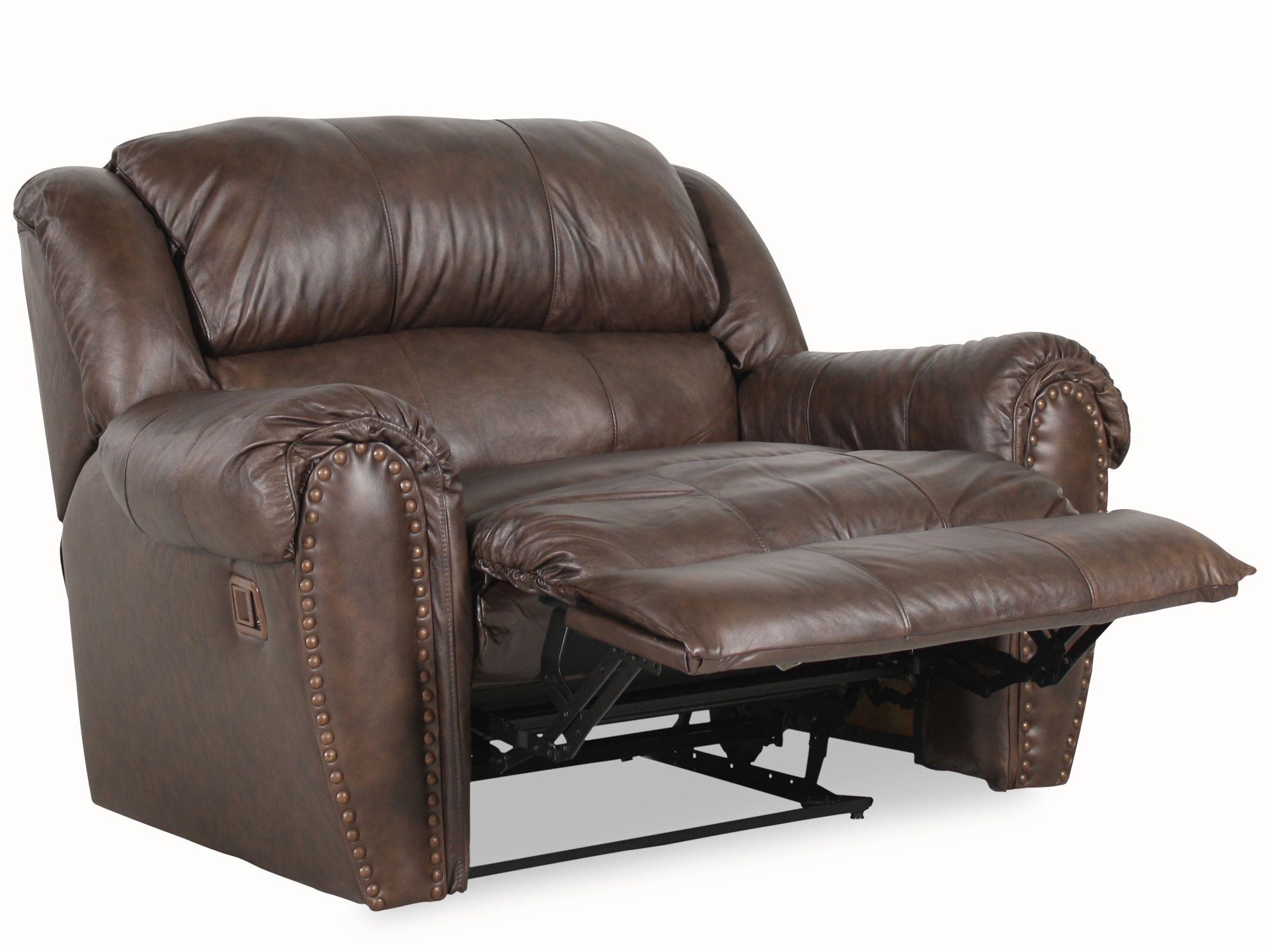 Nailhead Accented Leather Snuggler Recliner ...
