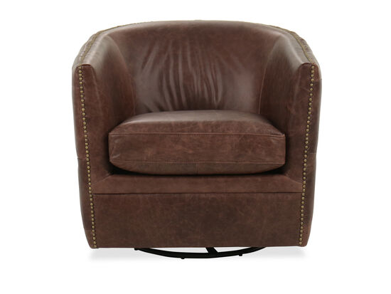 Nailhead-Trimmed Leather Swivel Accent Chair in Brown