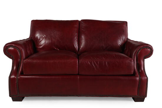 "Traditional Leather 71"" Loveseat in Red Berry"
