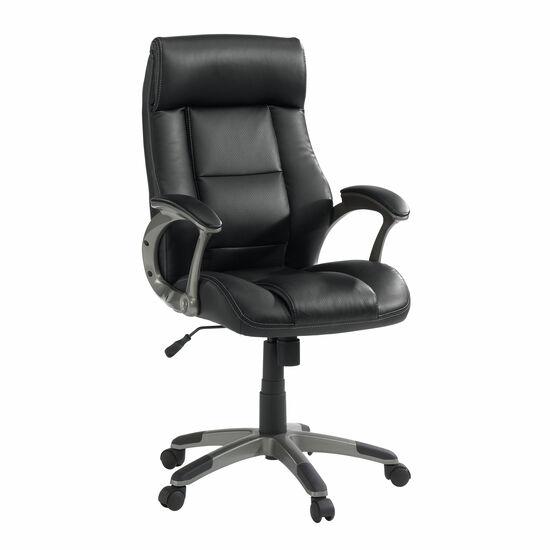 Oversized Leather Manager's Swivel Tilt Chairin Black