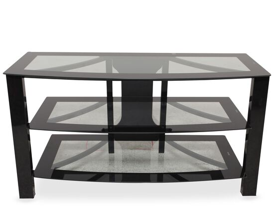 Tempered Glass Contemporary TV Stand in Black