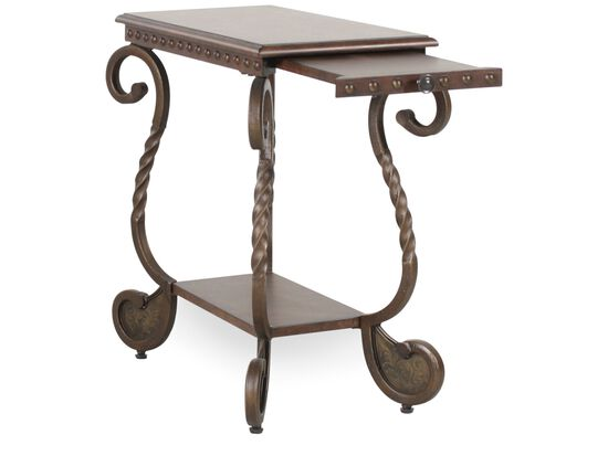 Rectangular Scrolled Legs Traditional Chairside Table in Medium Brown