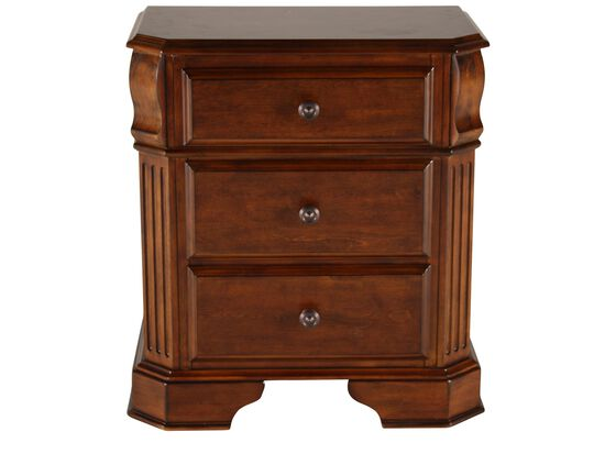 "29"" Country Three-Drawer Nightstand in Cherry"