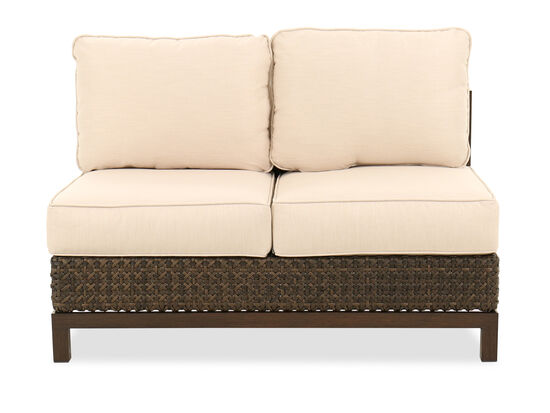 Water-Resistant Armless Wicker Loveseat in Cream