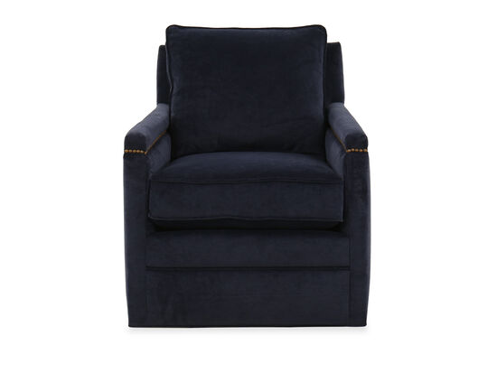 """Transitional 29"""" Swivel Chair in Blue"""