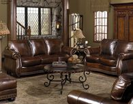 """Traditional Leather 88"""" Sofa in Brown"""