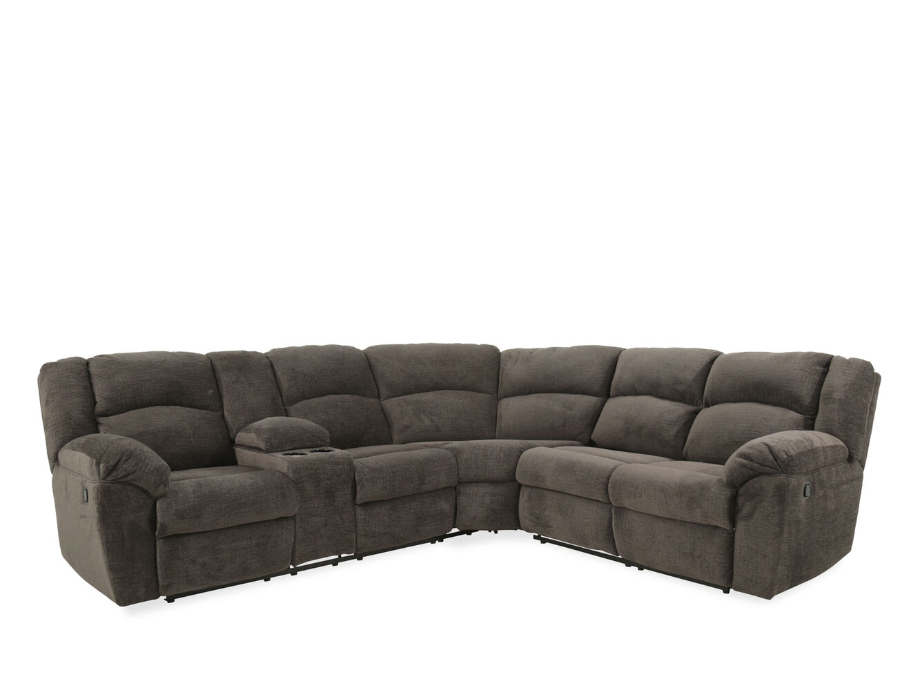 Contemporary 118quot reclining sectional in slate mathis for Sectional sofas mathis brothers