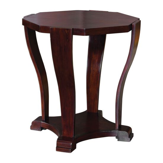 Octagonal Traditional Accent Table in Dark Hickory