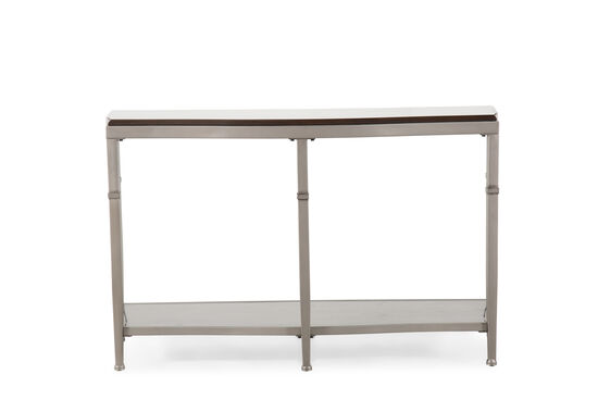 Open Shelf Traditional Sofa Table in Antiqued Pewter