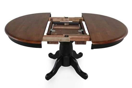 """42""""-57"""" Round Single Pedestal Dining Table in Almond"""