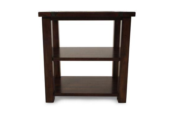 Square Contemporary Chairside Tablein Medium Brown
