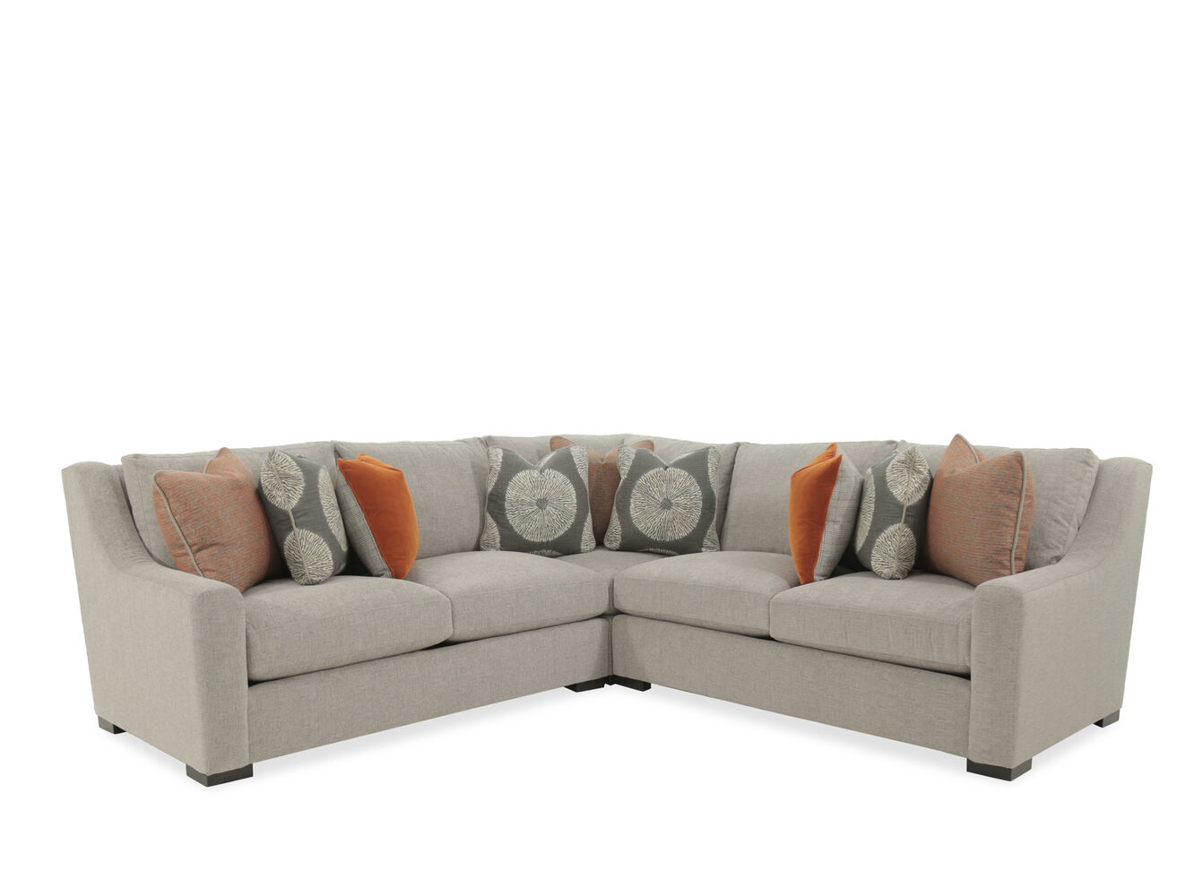 Three piece casual 140quot sectional in gray mathis brothers for Sectional sofas mathis brothers