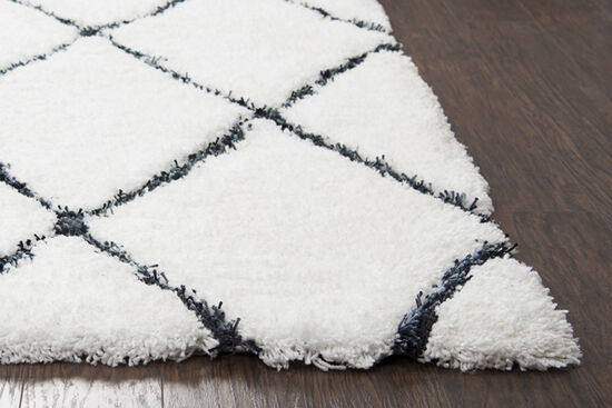 """Contemporary Hand-Tufted 7'6"""" x 9'6"""" Rectangle Rug in White"""