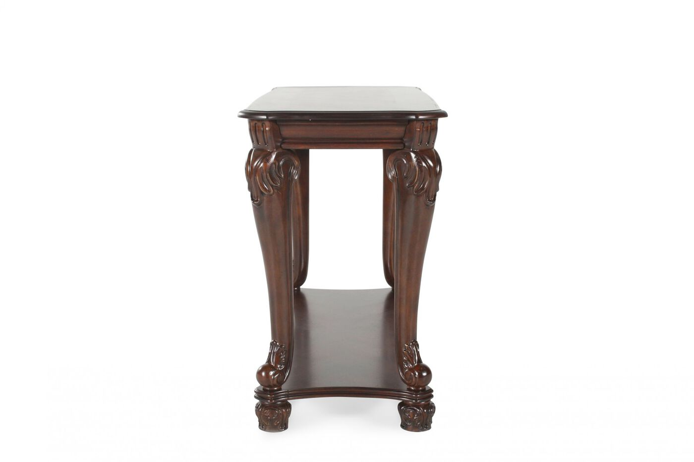 Traditional chippendale leg sofa table in dark brown Traditional console tables living room