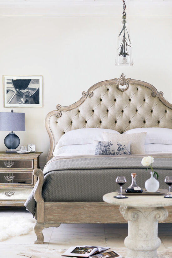 """72"""" Refined Romantic Button Tufted Panel Bed in Weathered Sand"""