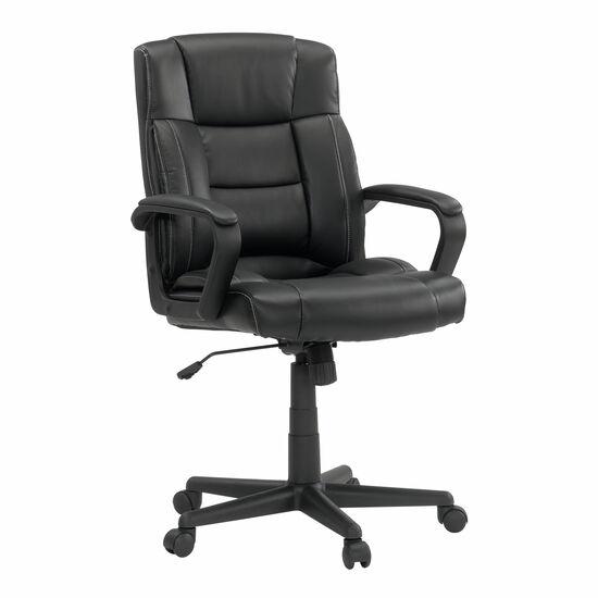 Leather Contoured Manager's Swivel Tilt Chairin Black