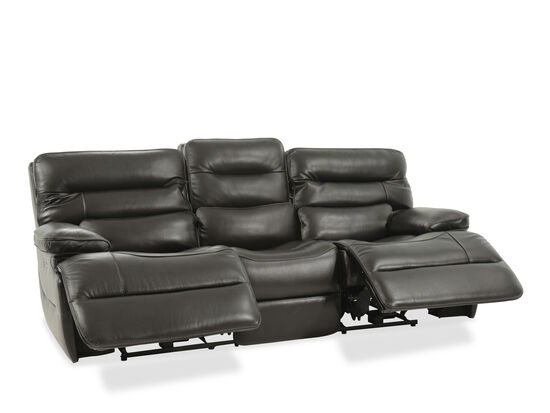 "Leather 92"" Power Reclining Sofa with Power Headrest in Black"