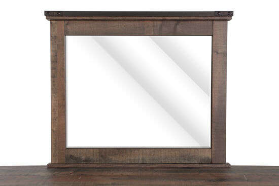 Nailhead-Accented Rustic Farmhouse Youth Mirror in Rustic Plank