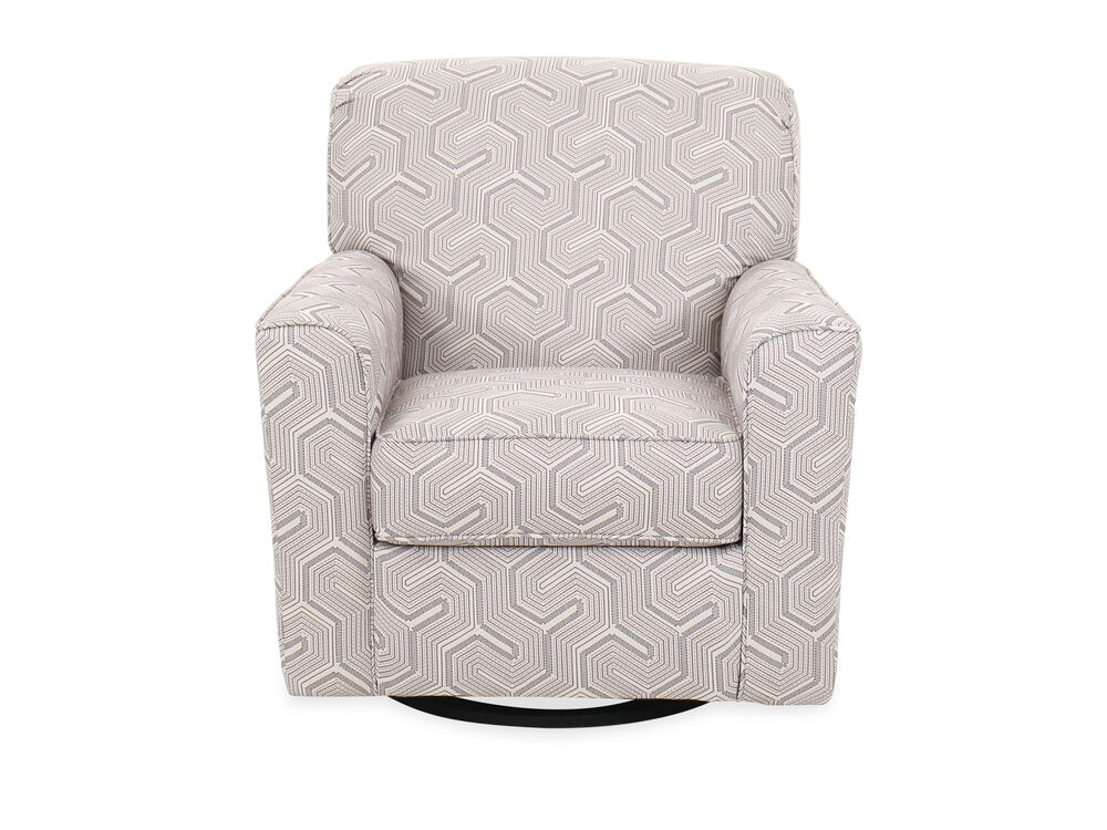 """Geometric-Patterned Contemporary 36"""" Swivel Accent Chair"""