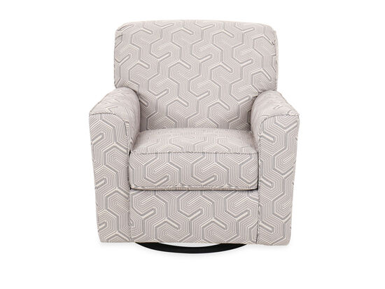 """Geometric-Patterned Contemporary 36"""" Swivel Accent Chair in Graphite"""