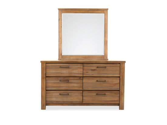 Two-Piece Industrial Six-Drawer Dresser and Mirror in Brown
